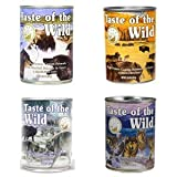 Taste of the Wild Grain-Free Canned Dog Food Variety Pack - Wetlands, Pacific Stream, High Prairie, and Sierra Mountain Pack of 12, 13.2 ounce cans by