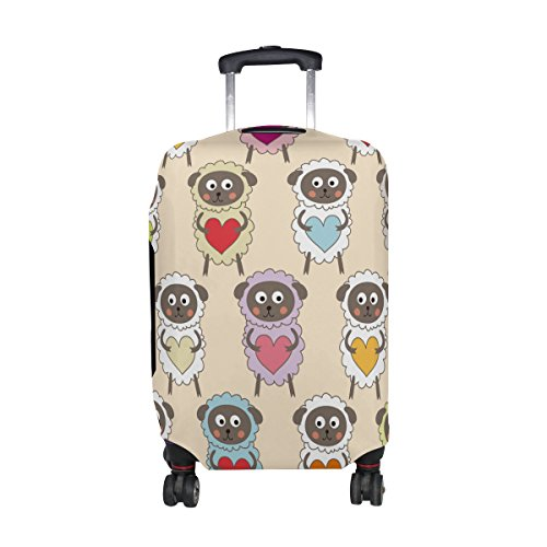 Cute Cartoon Sheep Pattern Print Travel Luggage Protector Baggage Suitcase Cover Fits 26-28 Inch Luggage by super3Dprinted