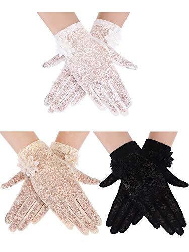 (3 Pairs Lace Gloves Full Finger Gloves UV Protection Gloves Short Summer Gloves for Wedding Party Costume)