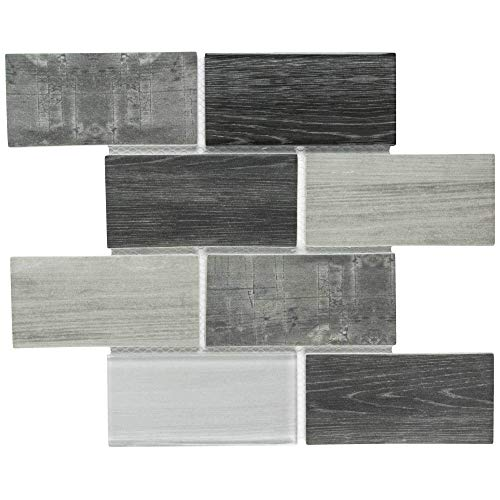 MTO0337 Modern Subway Gray Glossy Wood Grain Recycled Glass Mosaic Tile ()