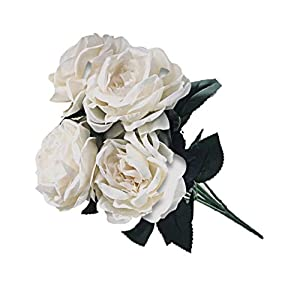 "Ooki-Artificial Fake Flowers 1 Bouquet with 6 Silk 6"" Big Rose Head Flower Arrangements Wedding Bouquets Decorations Plastic Floral Table Centerpieces Home Kitchen Garden Party Décor (White) 77"