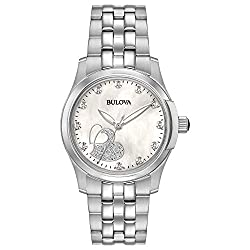 Bulova Women's Analog-Quartz Watch with Stainless-Steel Strap, Silver, 18 (Model: 96P182)