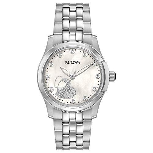 Bulova Women's Analog-Quartz Watch with Stainless-Steel Strap, Silver, 18 (Model: 96P182)