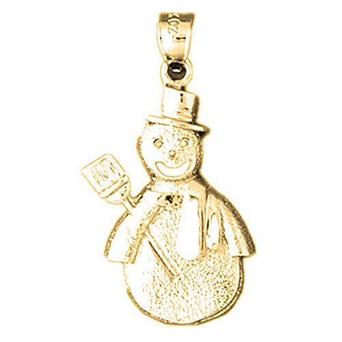 Yellow Gold-plated 925 Sterling Silver 33mm Snowman Charm Pendant