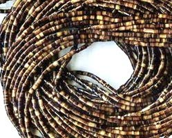 [ABCgems] Rare Pacific Ocean Brown Pinnidae Oyster AKA Pen Shell (Gorgeous Saltwater Seashell) 10mm Heishi Beads for Beading & Jewelry ()