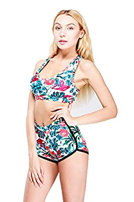 Top Here Women's 2017 Bandage Sporty Bathing Suit Boyleg Short Bikini Swimming Suit