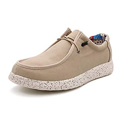 BABAYA Men's Canvas Casual Shoes Low Top Slip-On Comfort Loafer Fashion Walking Sneakers (7, Beige)