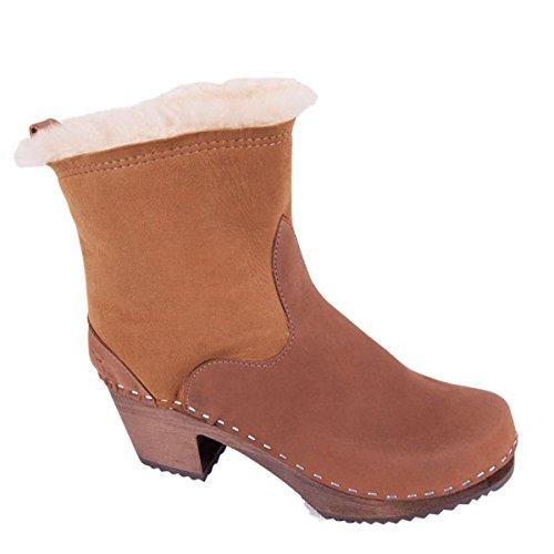 Sandgrens Swedish High Heel Wooden Clog Boots Women | Pasco Dexter Tan (Dark Base)