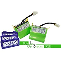Neato XV Series 4400 mAH Lithium-ion battery 2 pack with 3 free HEPA filters