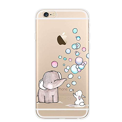 iPhone 6S Bunny Elephant Bubble Case,iPhone 6 Elephant Rabbit Papaw Case,Personality Clear Design Printed Pattern Soft Flexible TPU Protective Phone Back Cover for iPhone 6s(Bunny Elephant Bubble)