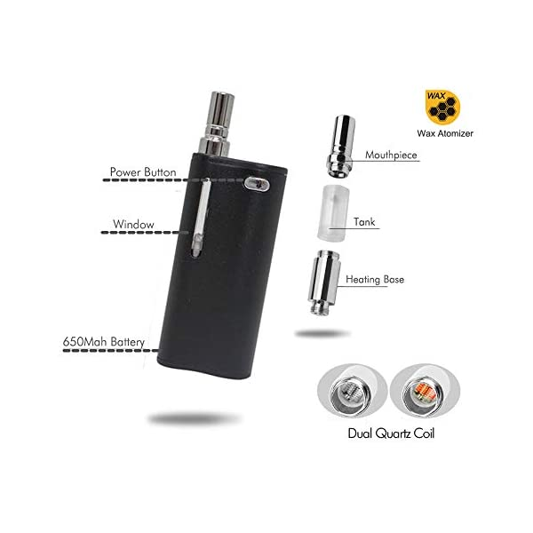 2-in-1 Mystica Portable Vaporizer for Wax CBD Oil 650mAh Battery Dual Quartz Coil Vape Kit Fit 510 Thread CBD with Variable Voltage Oil Cartridges No Nicotine