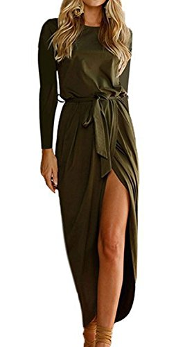shangke Womens Casual Long Sleeve Front Slit Solid Party Long Maxi Dress with Belt (Green, S)
