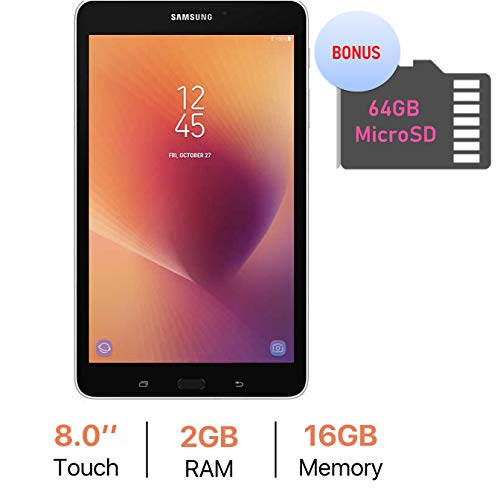Samsung Galaxy Tab A 8.0'' Touchscreen (1280 x 800) Wi-Fi Tablet, Quad-Core 1.4GHz Processor, 2GB RAM, 16GB Memory, Dual Cameras, Bluetooth 4.2, Bonus 64GB MicroSD Card, Android 7.1 OS