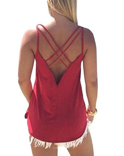 (YOINS V Neck Lace Details Vest Blouse Basic Womens Camis Tanks Top Vest PMC-Red XS)