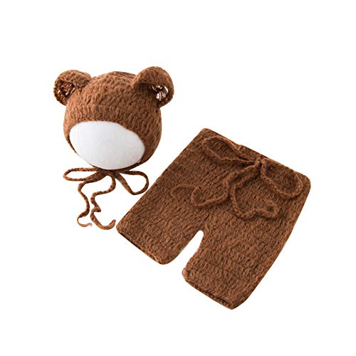 Luxury Stretch Newborn Boy Girl Baby Outfits Costume Photo Props Bear Hat Pants -