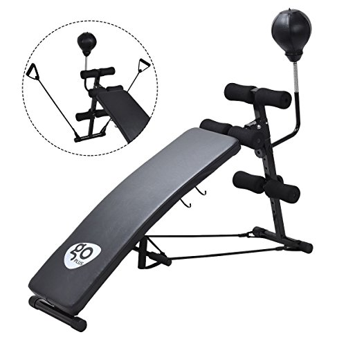 Gymax Adjustable Incline Weight Bench Curved Sit Up Bench Board Full Body Gym Weight Benches W/Speed Ball Pull Ropes by Gymax
