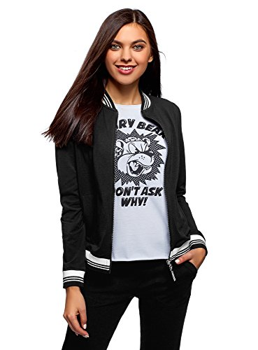 Cotton Jersey Jacket - oodji Ultra Women's Jersey Bomber Jacket with Zipper, Black, US 4 / EU 38 / S