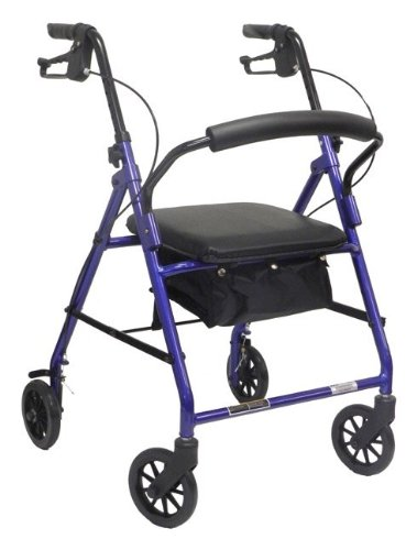 ProBasics 1024 BL 4 Wheeled Aluminum Rollator With Padded Seat and Loop Brakes - Metallic Blue