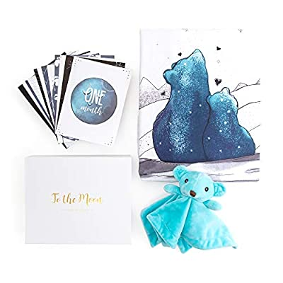 JumpOff Jo - Baby Milestone Cards, Crib Sheet, & Security Blanket - Baby Shower Gift Set - 1 Crib Sheet, 12 Cards, 1 Security Blanket - To the Moon Blue