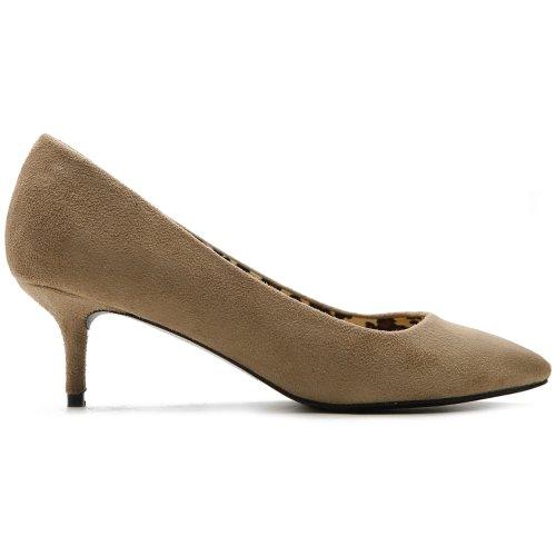 Ollio Women's Shoe Faux-Suede D'Orsay Pointed Toe Multi Color Pump(8 B(M) US, Sand)