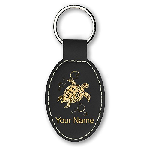 Oval Keychain, Hawaiian Sea Turtle, Personalized Engraving Included (Black)