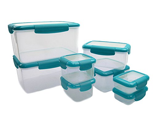 e Container with Leakproof Lids - Air-Tight, Water-Tight. Dishwasher, Freezer, and Microwave Safe (Blue) ()
