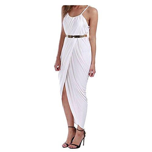 robe a echarpe fine - SODIAL(R) Nouveau femmeL robe a echarpe fine Ourlet irregulier Drape Maxi ROBE pour la fete plage Boho LundreLL LanL Ceinture Blanche XL