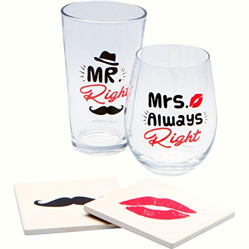 t Gift Boxed Set - Funny Novelty Stemless Wine 20oz + Pint Beer Large Glassware & Fancy Stone Drink Coaster | Cool for Friend, Couples On Wedding, Anniversary, Engagement, Birthday ()