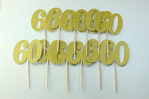 Easthors 60th Birthday Anniversary Cake Cupcake Topper Gold,60th Birthday Decorations for Men Women by Easthors