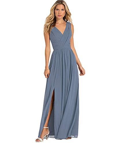(Yilis Women's Double V Neck Chiffon A Line Chiffon Bridesmaid Dress Slit Formal Prom Evening Dresses Dusty Blue US8)