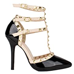 New Women Sexy Cage Out T-Straps Stiletto High Heel Studded Detail Pointed Shoes