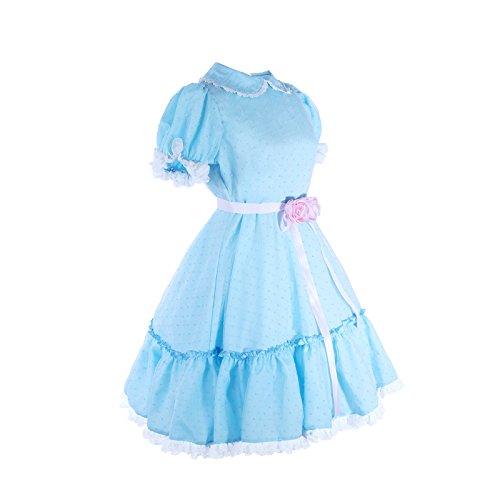Women's Sweet Lolita Dress Blue Cotton Bow Puff Skirts Halloween Costumes by Nuoqi (Image #3)