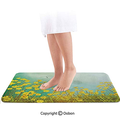 (Dragonfly Bath Mat,Flourishing Artistic Landscape with Daisies on Grass and Dragonflies in The Air,Plush Bathroom Decor Mat with Non Slip Backing,36 X 24 Inches,Green Yellow)