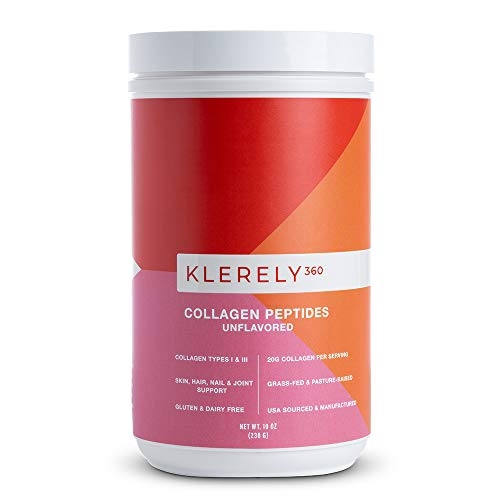 Klerely 360 Collagen Peptides Powder Supplement (Type 1 & Type 3) | Collagen for Hair Skin Nails and Joints | Grass-fed Bovine Collagen | Dairy Free and Gluten Free Hydrolyzed Collagen Powder | 10 oz