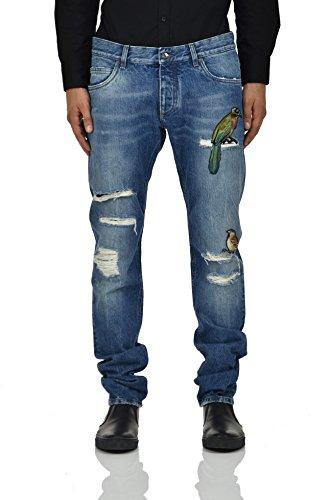 Dolce&Gabbana Gold Jeans Colored Birds Men - Size: 52 - Color: Blue - New