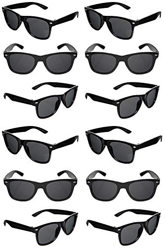 TheGag Black Sunglasses Wholesale Party Pack-12 Retro Wayfarer Risky Business-Blues Brothers Black Sunglasses for Graduation Mardi Gras Holidays-Birthday Wedding Party Adult Kids-New