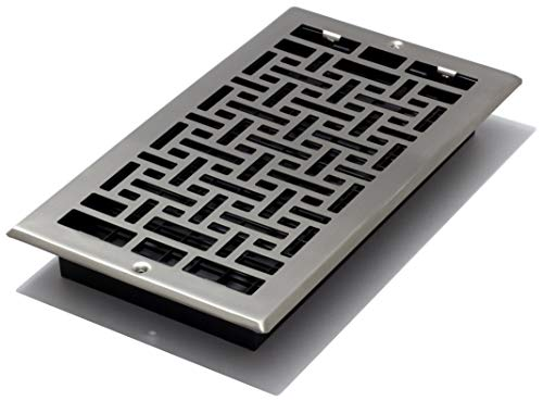 Decor Grates AJL612W-NKL Oriental Wall Register, 6-Inch by 12-Inch, - Brushed Wall Register Nickel