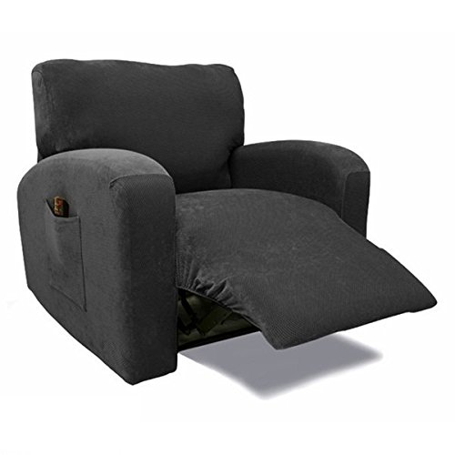 Single Piece Black Recliner Chair Slipcover, Form Fitting Style, Stretch Solid Pattern, Polyester Spandex Fabric, Gorgeous Quality, Machine Washable, Medium Black, Raven (Raven Fabric Black Frame)