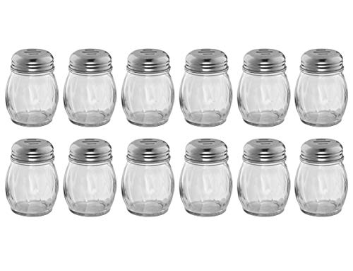 (Set of 12) 6-Ounce Glass Cheese Shaker with Slotted Top, Swirl Glass Cheese Shaker with Stainless Steel Slotted Lid, Restaurant Cheese and Sugar Shakers by Tezzorio