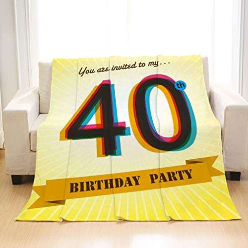 BEIVIVI Soft Stylish Flannel Blankets 40th Birthday Decorations Vintage Graphic Banner Party Invitation Theme Optical Striped Multicolor Blanket for Couch Sofa Bed and Outdoors for $<!--$34.88-->