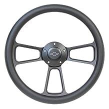 """14"""" Forever Sharp Black Billet Aluminum Steering Wheel w/ Engraved Chevy Horn Button"""