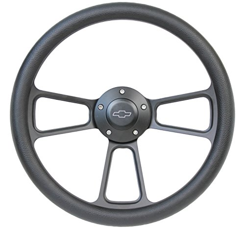5-bolt Black Steering Wheel 14 Inch Aluminum with Black Vinyl Wrap and Chevy Horn Button