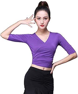 Grouptap para Mujer, Blusa Morada de Baile, Camisa Corta, Camiseta, Camiseta de Manga Larga 1/2 Fiesta, Salsa Samba Tango Chacha Rumba (Violet, EU 36-40): Amazon.es: Deportes y aire libre