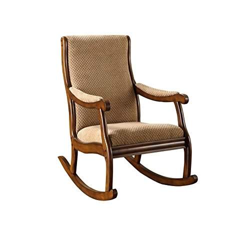 Nursery Rocking Chair Upholstered Cushion Tan Brown Wood Rocker For Living Room Bedroom Den Traditional Elegant