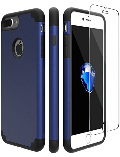 iPhone 7 Plus Slim Hard Case and Glass Screen Protector, Vogue shop Hybrid Impact Shock Absorbing Cute Cover [Scratch Proof] Plastic Protective Outer Shell and Soft TPU Rubber Inner-Deep Blue