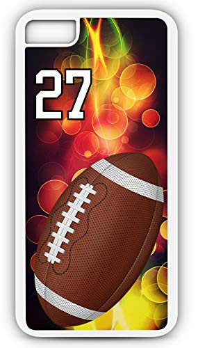 (iPhone 6s Case Football F051Z Choice of Any Personalized Name or Number Tough Phone Case by TYD Designs in White Plastic and Black Rubber with Team Number 27)