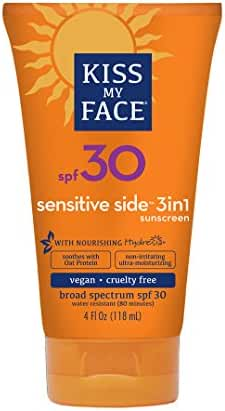 Kiss My Face Sunscreen Sensitive Side 3 in 1 with Oat Protein Complex, SPF 30 Sunblock, 4 oz Tube