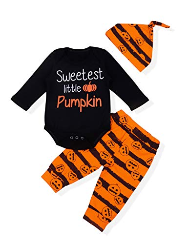 Baby Girl Boy Halloween Costumes Outfits Set 3pcs Newborn Letter Rompers Pumpkin Printing Pants Bodysuit Clothes My First Halloween(3-6 M) Orange -