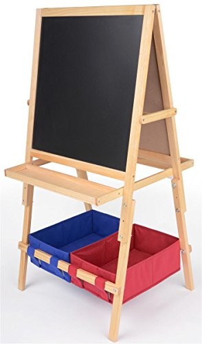 Displays2go Height-Adjustable Children's Easel with 2 Fab...