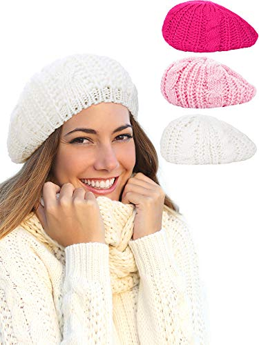 a4a7d0bd8f3 Hestya 3 Pieces Beret Hat French Style Beanie Cap Solid Color Winter Hat  for Women and